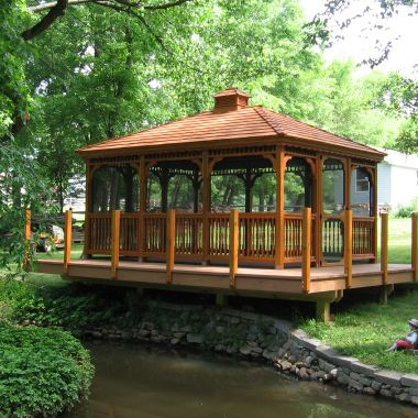 colonial style wood rectangle gazebo with cedar shake roof screen package cedar stain and cupola - Screened Gazebo