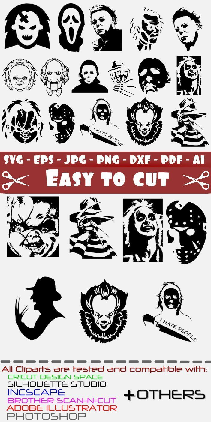 67514f035edb Horror Movie Villain Svg Halloween Svg Michael Myers Svg Chucky Svg ...