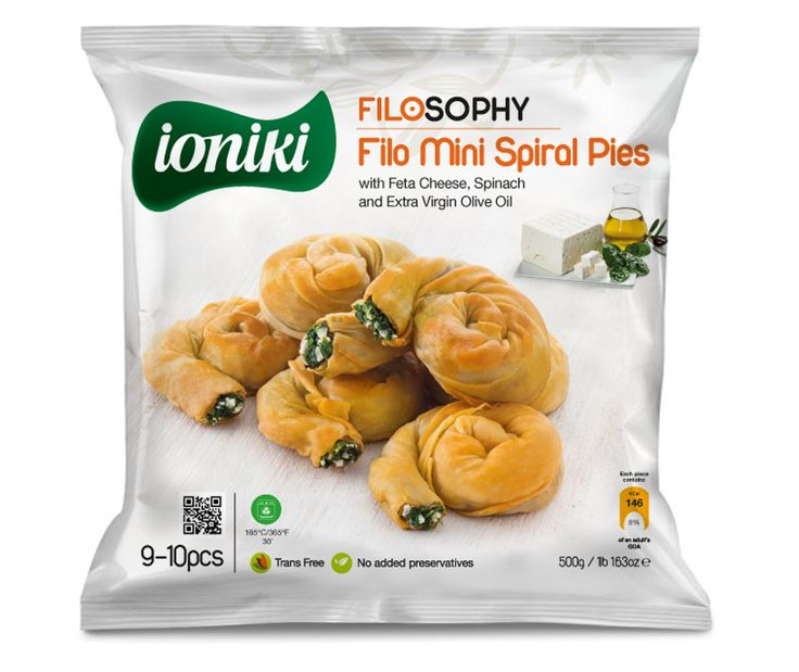 Ioniki Sfoliata - Filo Mini Spiral Pies with Feta, Spinach and Extra Virgin Olive Oil - QR Code on package