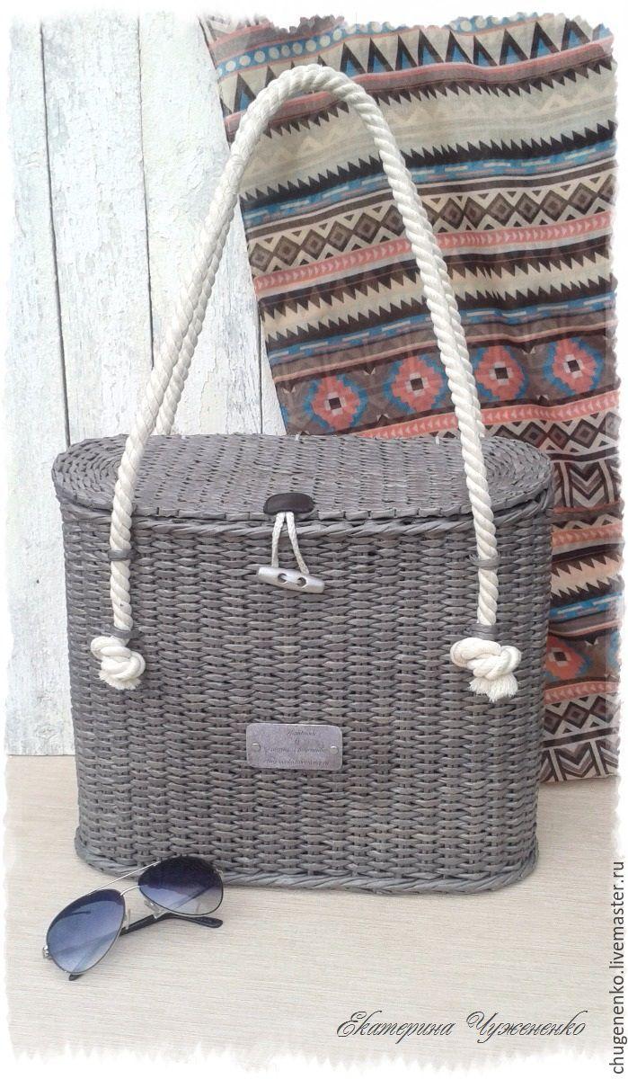 Купить Сумка-шоппер плетеная Априори - серый, однотонный, сумка шоппер плетеная