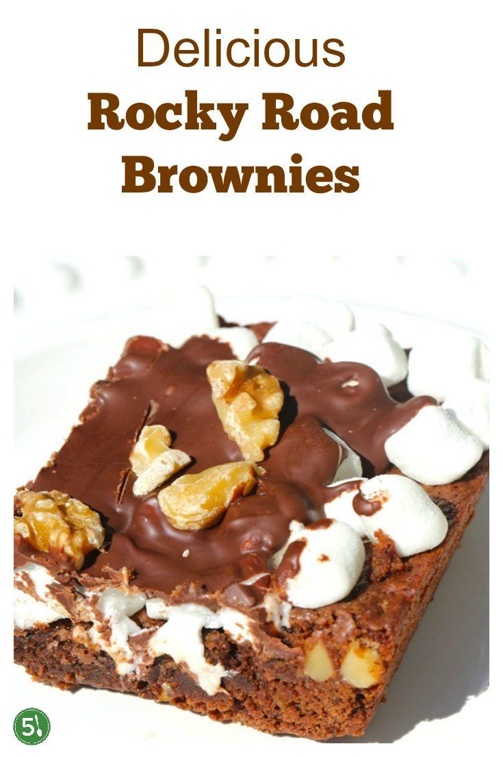 Rocky road brownies recipe filled with freshly chopped walnuts, marshmallows, and semi sweet chocolate chips.  Homemade rocky road is such an unbelievably delicious treat! #chocolate #rockyroad #brownies