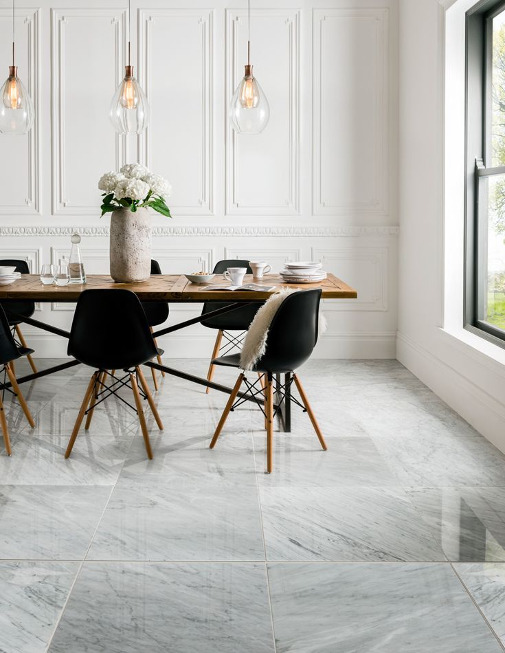Italian In Origin This Highly Polished Carrara Marble Is An Indulgent White Mar In 2020 White Marble Floor Living Room Tiles Dining Room Floor