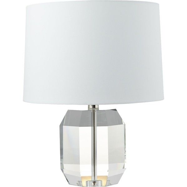 CB2 Carat Table Lamp ($219) ❤ liked on Polyvore featuring home, lighting, table lamps, white outside lights, outside lamps, geometric table lamp, outdoor table lighting and white shades