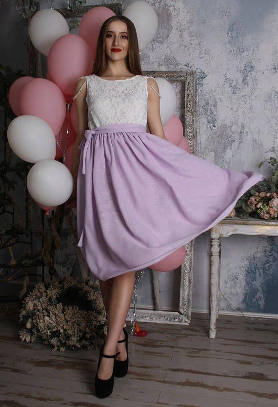 Mauve skirt lilac chiffon skirt tea length skirt
