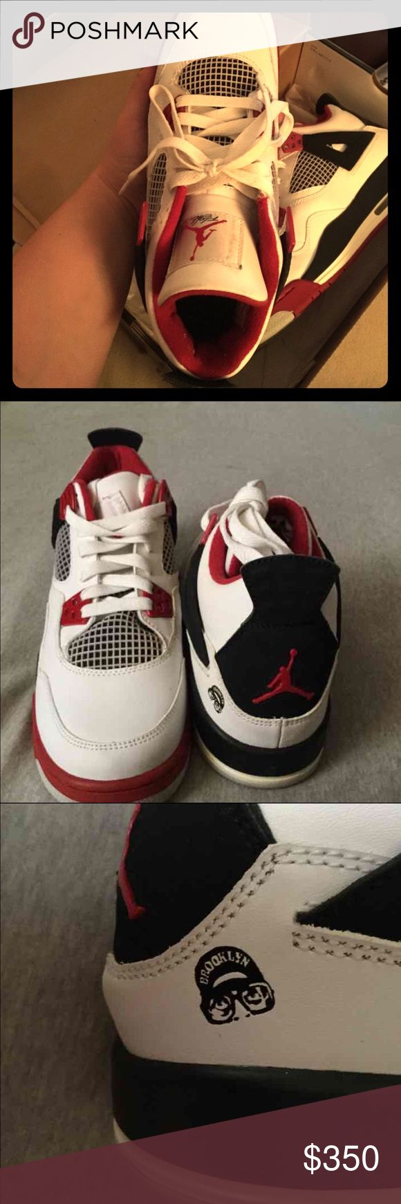 Air Jordan 4 Retro white/red/black 2006 Spike Lee Size 7Y fits size 8.5 and 9 in woman. Original Air Jordan  4 retro Spike Lee from 2006. Rare and Authentic. Get these while they are available. Great condition rare to find. These are stored in original box. Jordan Shoes Sneakers