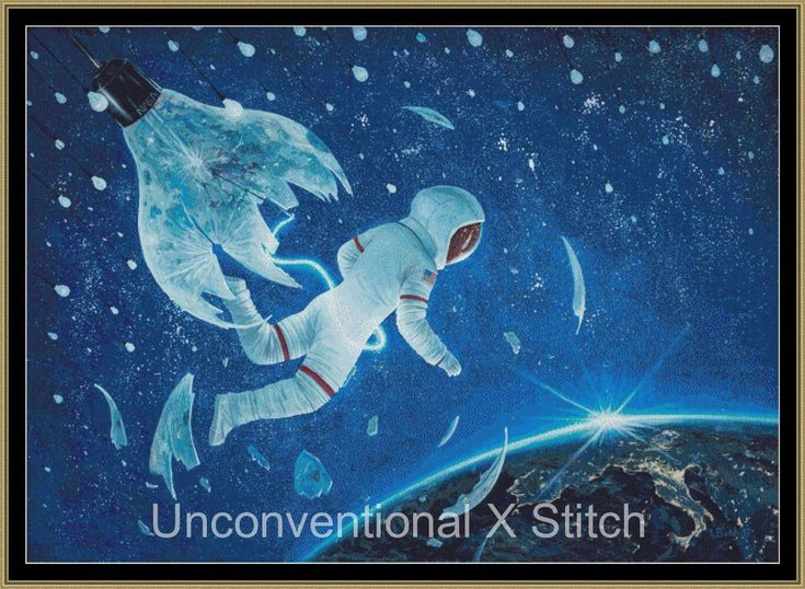 The Birth of the First Astronaut cross stitch pattern - Apollo mission - cross stitch chart by UnconventionalX on Etsy