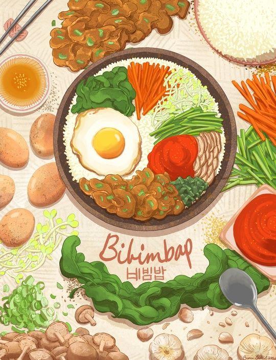Bibimbap, an art print by Brenna Lindblad
