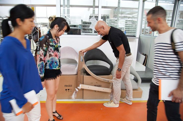 JENNY HSU, YUNA KIM and BENJAMIN BILLICK visiting Poltrona Frau Production
