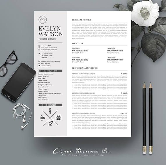 Check out this item in my Etsy shop https://www.etsy.com/listing/547521190/resume-template-4pages-for-freelance