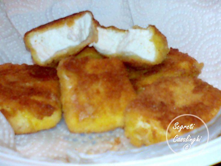 ricetta ricotta fritta facile veloce uova ,ricotta fritta,cibi fritti,secondi fritti,secondi,ricetta della ricotta fritta con uova e farina,ricotta,