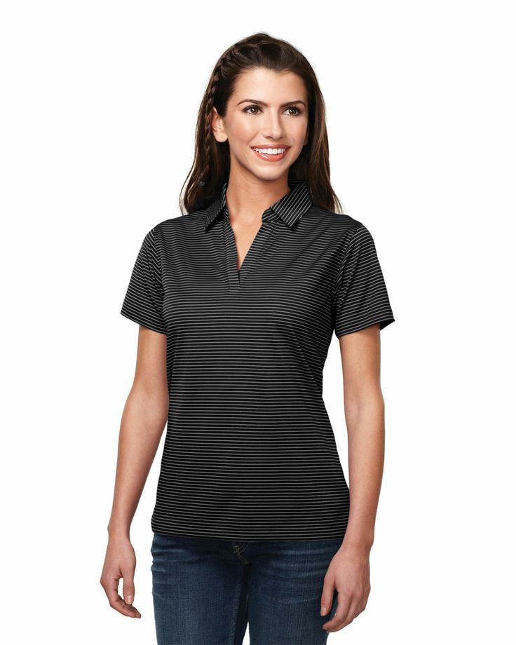 Womens Y.D. stripe Johnny Collar Knit shirt (100% Polyester side vents) Tri mountain KL126 #Collar #Polyester