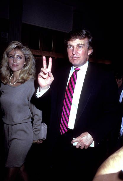 Marla Maples and Donald Trump during 'The Will Rogers Follies' Gala May 16 1991 at Palace Theater in New York City New York United States