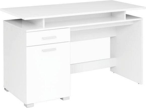 Dieser Schreibtisch ist die perfekte Ergäzung für Ihr Arbeitszimmer. Er ist aus hochwertiger Flachpressplatte gefertigt und mit einer Dekorfolie im eleganten Weiß veredelt. Mit einer Breite von ca. 120 cm bietet er genügend Platz für Ihren Computer, die praktische Ablage schafft Platz für die Tastatur. Dank einer Schublade und einer Drehtür bietet der Tisch zudem ausreichend Stauraum für Bücher, Ordner oder andere Büroutensilien. Dieser Schreibtisch wird Sie begeistern!