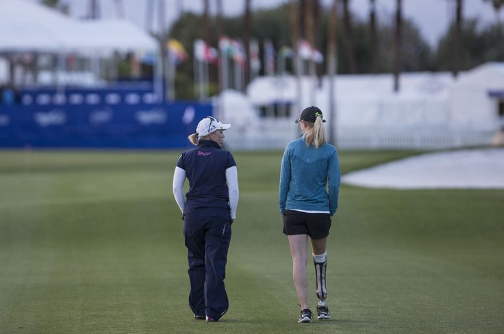 Sydney Pomajzl (right) and Morgan Pressel during the 2016 ANA Inspiration pro-am.