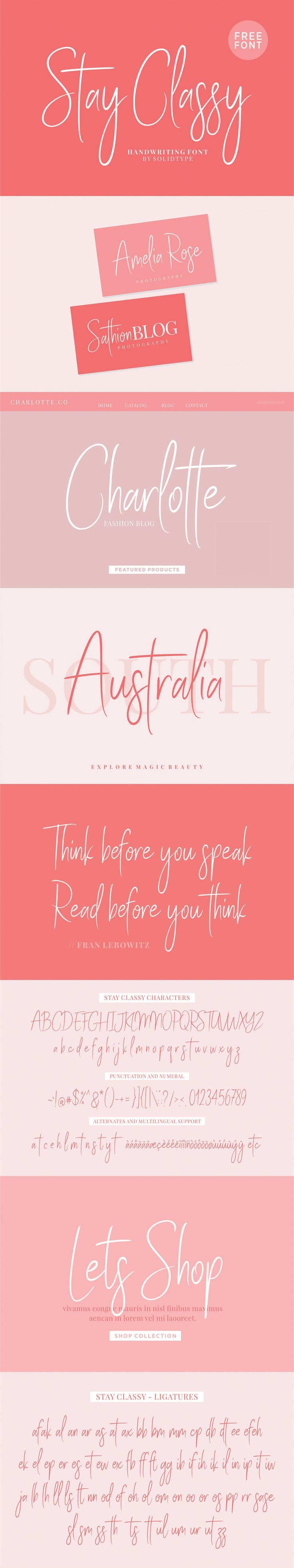 Stay Classy is handwritten script font, a contemporary font with fashionable and elegant script style. This font will perfect for many different project for blogging, social media, branding, wedding invites, cards etc.Stay Classy font including over 70 l…