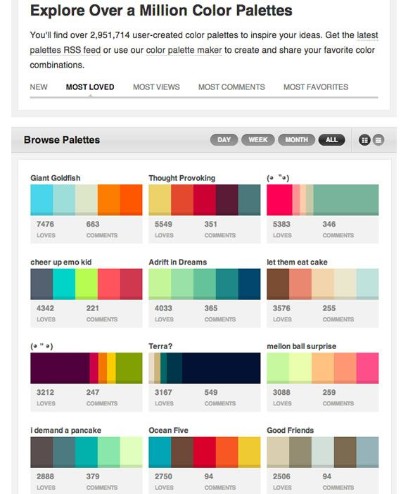 http://www.colourlovers.com/palettes/most-loved/all-time/grid  Color: Books, Apps & Tools to make your life easier