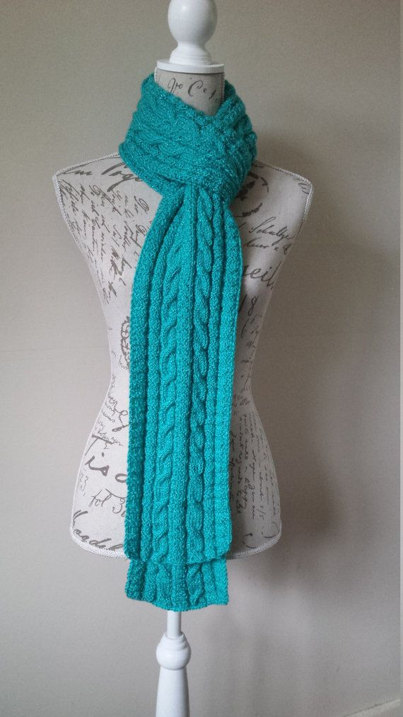 Hand-Knitted Turquoise Color With Sparkle Scarf