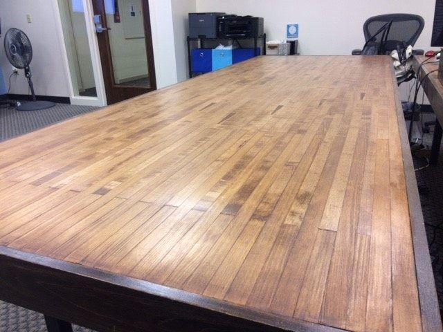 Salvaged Wood Bowling Lane Table - fantastic sale! —