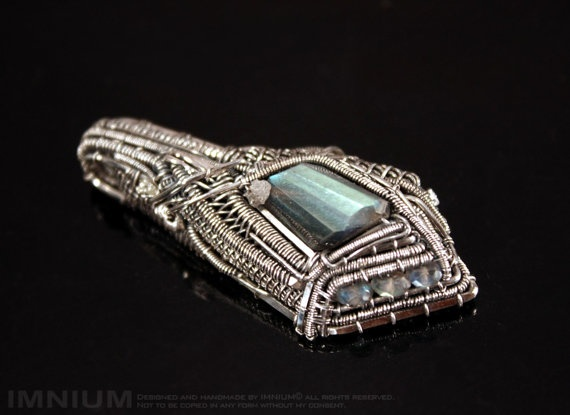 Complex wire wrapped pendant  sterling and fine silver by IMNIUM, $219.99