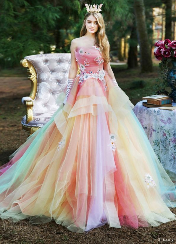 Image result for wedding dresses in unicorn theme Rainbow Prom Dress be02bf51fea