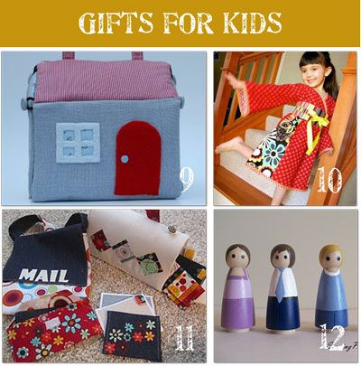 28 Handmade Christmas Gift Ideas, eg paint your own doll house dolls. Great ideas!  Art folio for all three kids