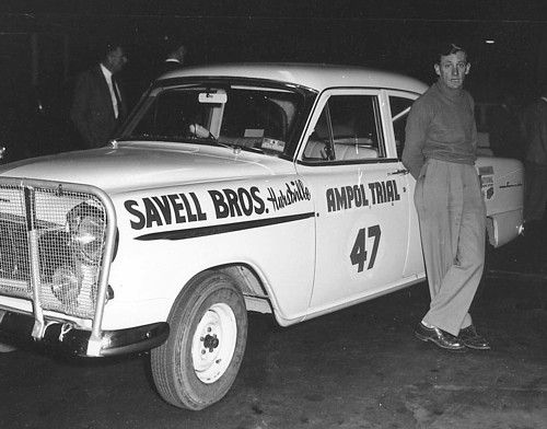 1957 - Car 47 shows Norm Savell beside the FE Holden entered by his company, Savell Bros. Holden of Hurstville NSW - His co driver was the experienced Jack Letchford, the car did not finish.