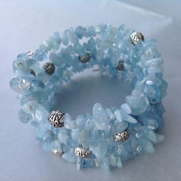 Aquamarine chip cuff bracelet