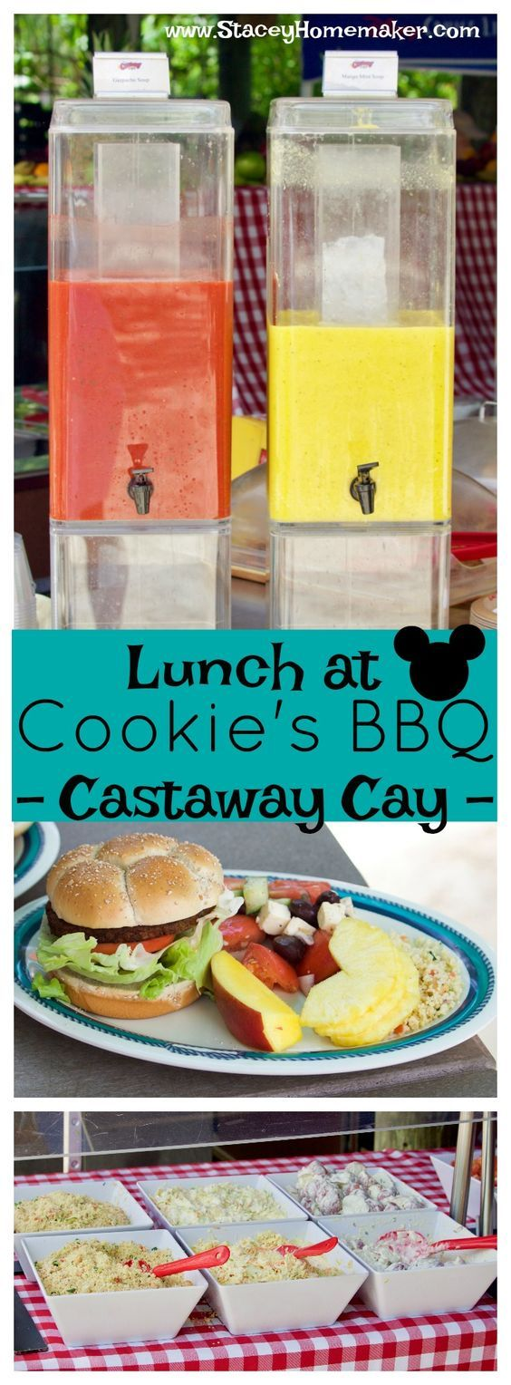 We ate a delicious FREE lunch at Cookie's BBQ in Castaway Cay. I was surprised by the quality and amount of delicious food that is provided for lunch at the beach. I took pictures of all the food + the menu + our day at Serenity Bay!