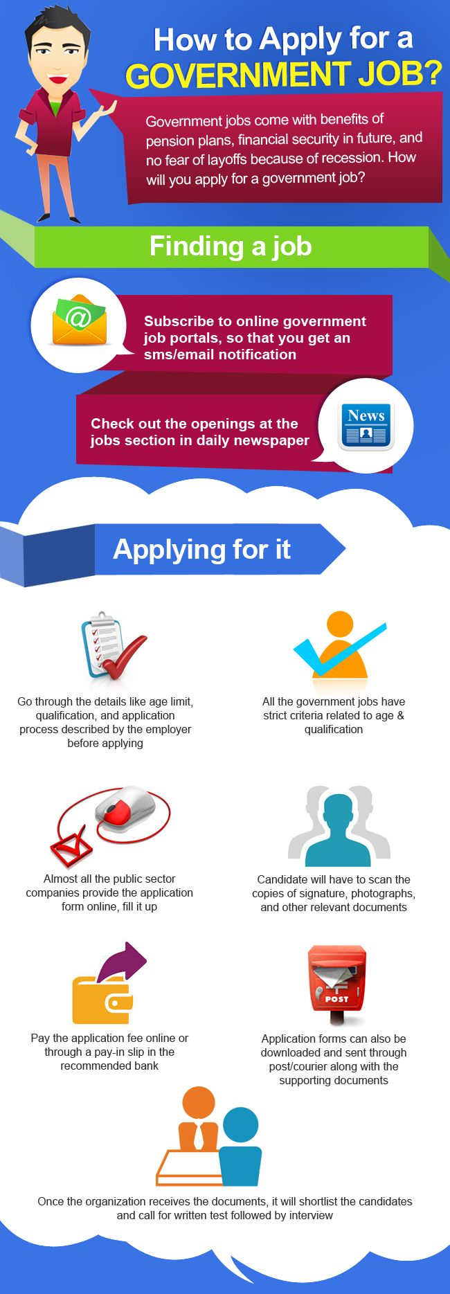 "Confused about application of government jobs? Employment-news-today has come up with a nice infographic on ""How To Apply For A Government Job"" representing some important steps about applying for a government job like how to find a job and how to apply for it. For more information please visit http://www.employment-news-today.com/."