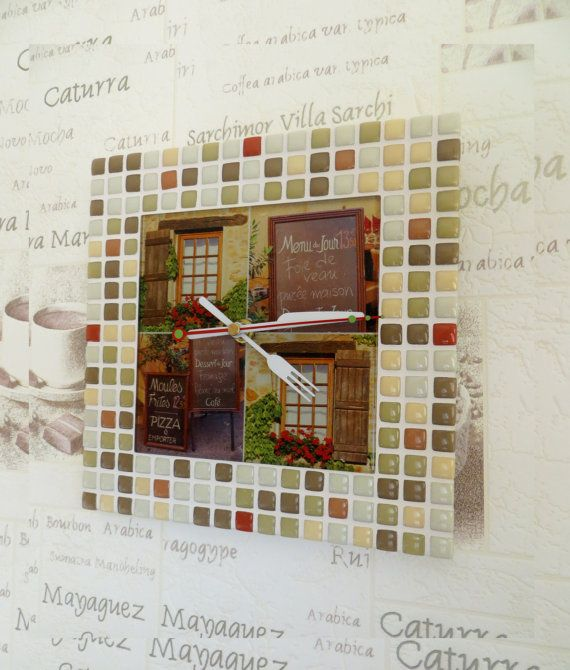 """Mosaic wall clock """"French provincial cafe"""" - Rustic wall clock - Kitchen clock - Rustic wall decor - Rustic wall art - Mosaic wall clock"""