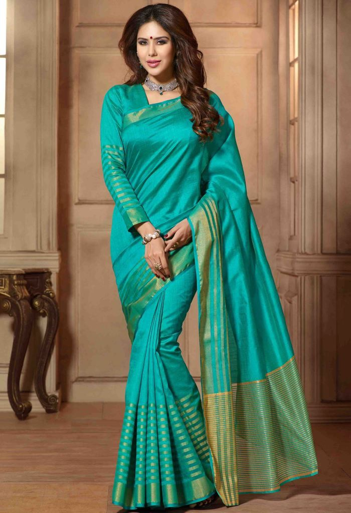 Green Printed Traditional Silk Saree 36505