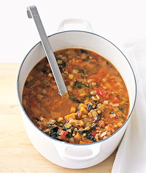 Winter Lentil Soup  Ribbons of kale add a bright note to this hearty soup, which combines sweet potatoes, tomatoes, and leeks with brown lentils.
