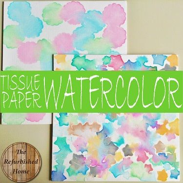 """Tissue Paper Watercolor """"Painting""""- A Kid Friendly Art Project from The Refurbished Home"""