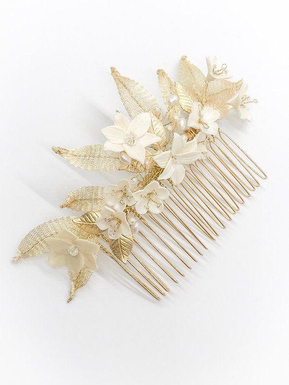 Gold floral comb,bridal floral comb,wedding comb,gold bridal headpiece porcelain headpiece