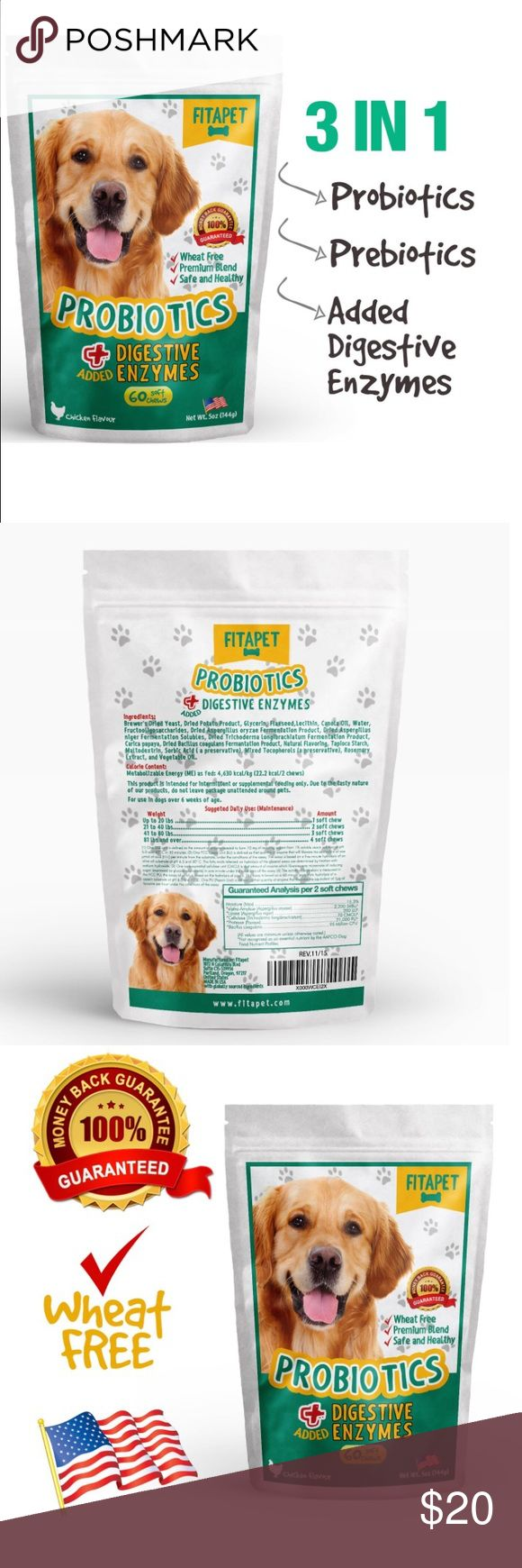 🐶Pets - Dog Probiotic Treats Helpful when dealing with food sensitivity, change of diet, allergies, anxiety, bad breath, diarrhea, travel or kenneling; Suitable for small to large breed and puppies over 6 weeks. No refrigeration, low calorie moist chewable treat. e-sealable pouch. WHEAT FREE! PROBIOTICS are bacteria naturally present in the digestive tract PREBIOTICS are used as a source of food for probiotics to grow, multiply and survive in the gut; DIGESTIVE ENZYMES aids the breakdown of…