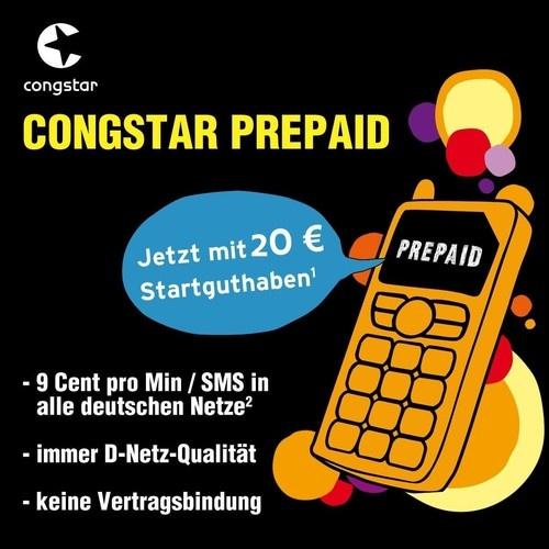 €9,99 2 aktivierte Congstar Prepaid Karten mit Jeweils mit 10 Euro Startguthaben = 20 Euro zum Telefonieren, Surfen, Simsen + 16 GB USB-Stick GRATIS
