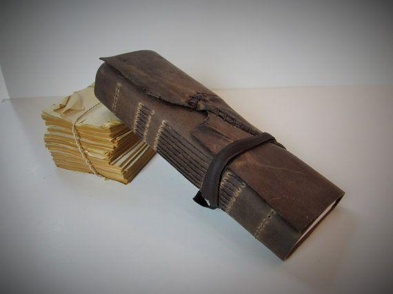 "Handmade Brown Leather Bound Journal Pocket Diary Blank Notebook Travel Sketchbook Ledger  4 "" x 10 1/4"""