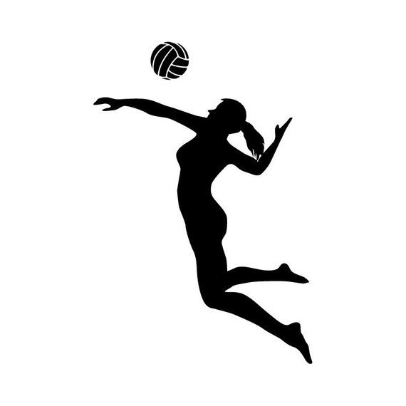 Volleyball hitting. Player spiking silhouette sports