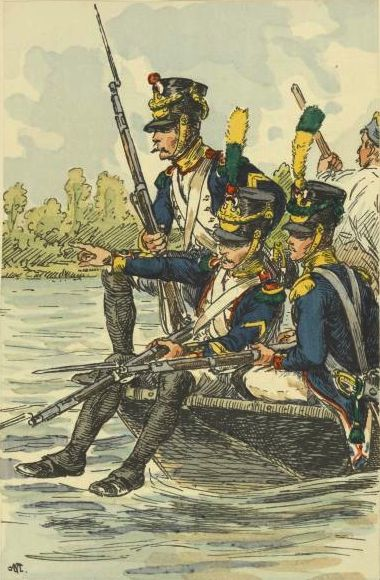 French voltigeurs crossing the Danube before the battle of Wagram.
