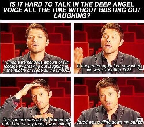 Misha Collins on talking in the gravelly angel voice.