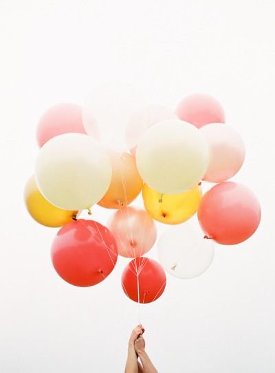 Balloon bouquet.: Colors Combos, Warm Colors, Inspiration, Citrus Hu, Summer Wedding, Balloons Parties, Wedding Style, Colors Palettes, Wedding Colors