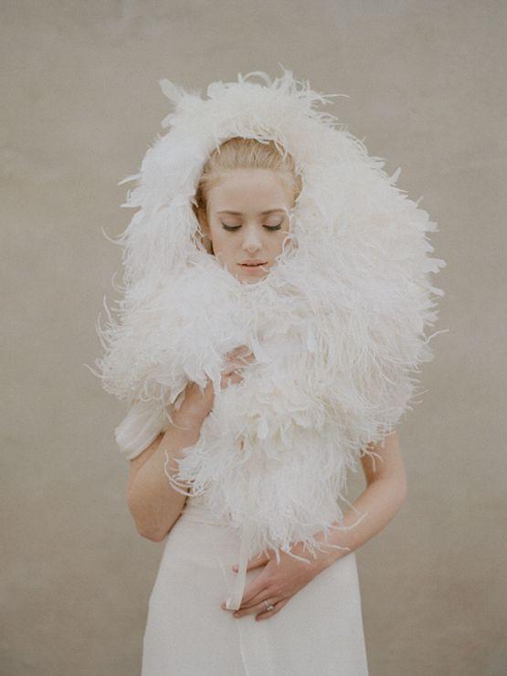 ostrich feathers make one helluva bridal headpiece | elizabeth messina