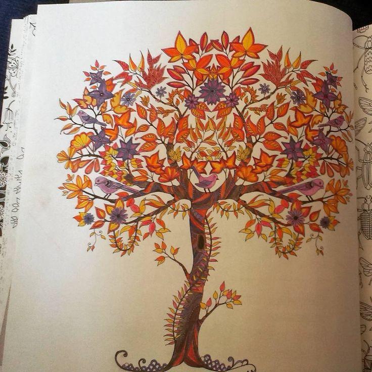 """""""W kolorach jesieni;) #autumn #jesien #otoño #kolorowankadladorosłych #koloruj #tajemnyogrod #secretgarden #johannabasford #coloringbook #coloringpage…"""""""