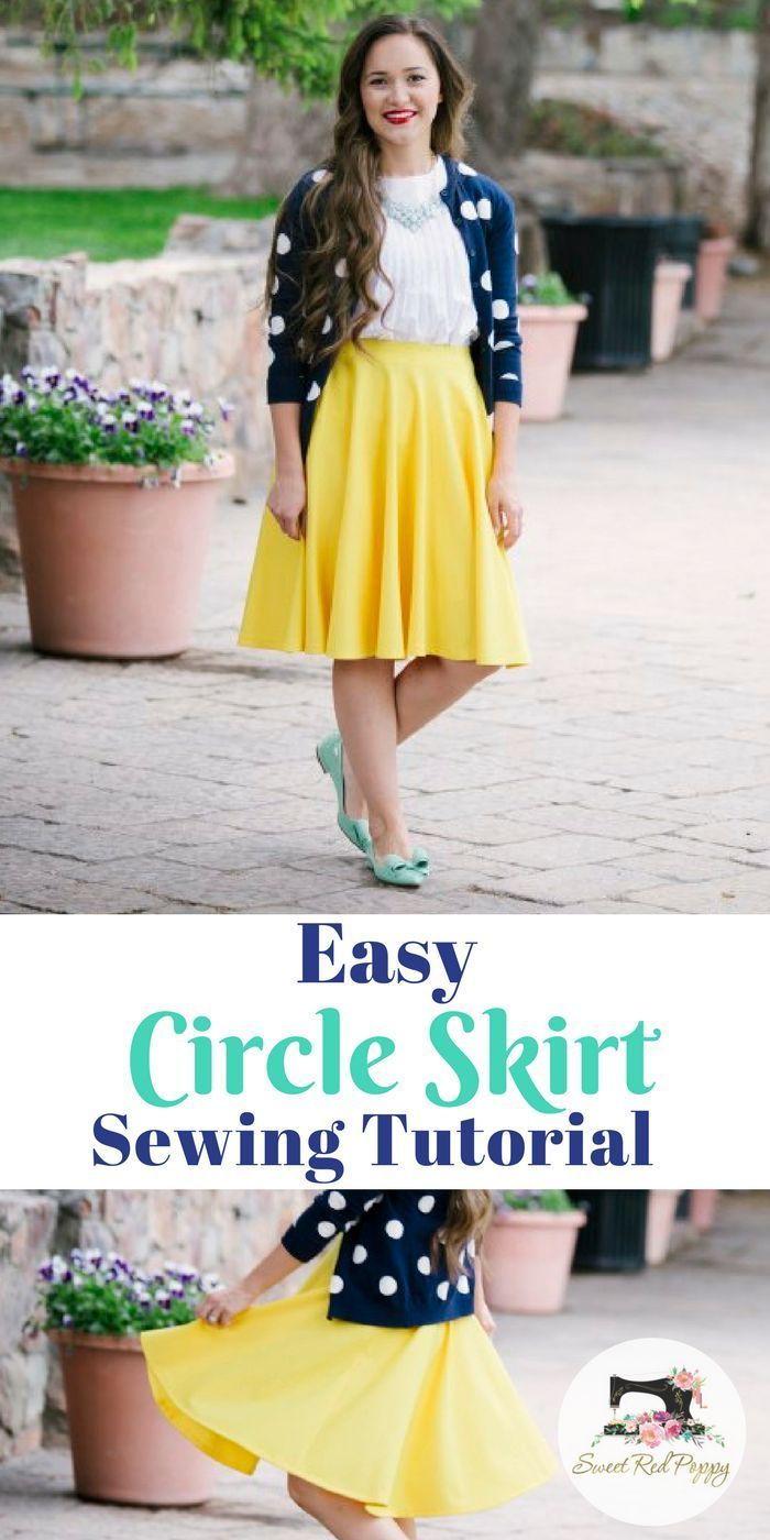 cb70dacc8bf7a Easy Circle Skirt Tutorial Free PDF Pattern Yellow Skirt Beginner friendly