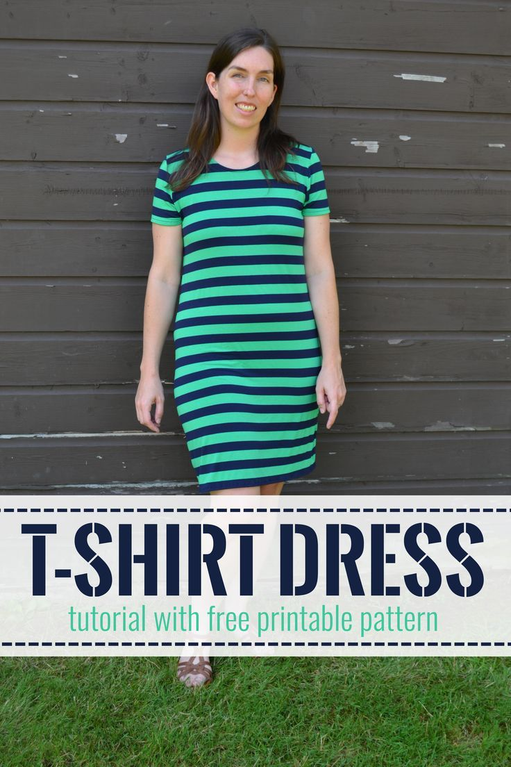 T shirt dress tutorial with free printable pattern for a size Large t-shirt dress