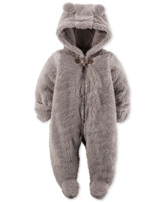 Carter's Baby Boys' or Baby Girls' Hooded Faux-Sherpa Footed Coverall  | macys.com