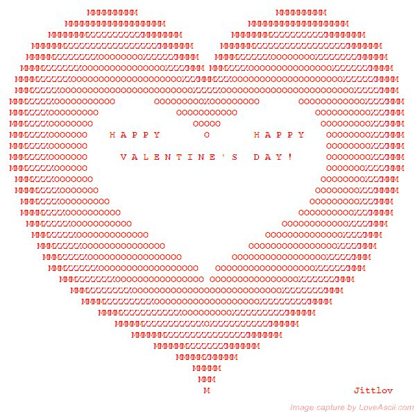 happy valentine ascii art