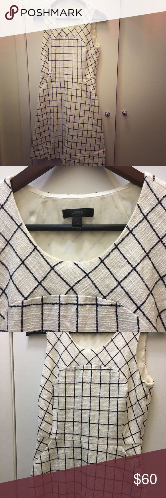 J Crew shirt dress A Line size 2 Like new, worn once! J crew size 2 shift dress in white heavy texture with navy/black lines. Perfect for work, picnic, bridal shower, etc. A line and has pockets!! J. Crew Dresses Midi