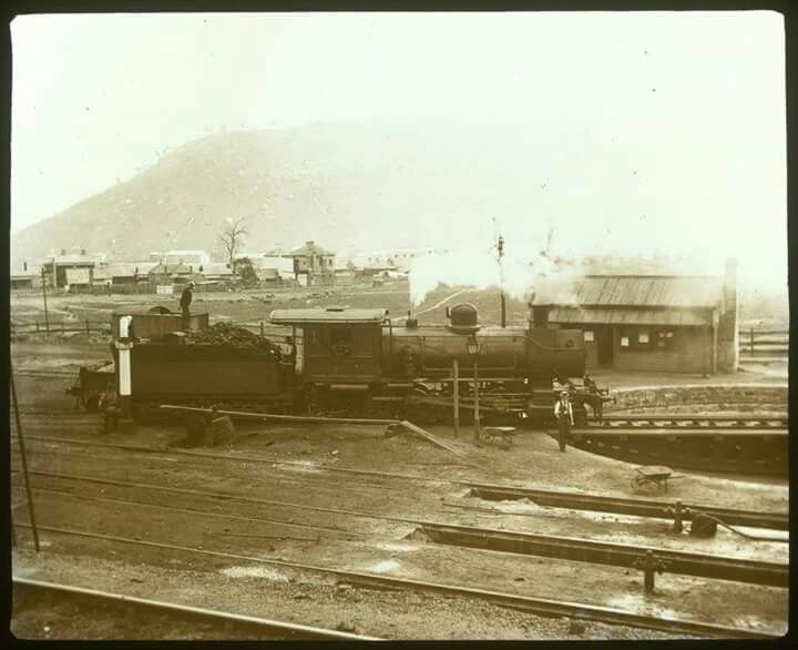 A locomotive at Lithgow,New South Wales (date unknown).Photo by John Henry Harvey.A♥W