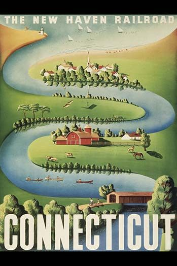 Connecticut travel poster. High quality vintage art reproduction by Buyenlarge. One of many rare and wonderful images brought forward in time. I hope they bring you pleasure each and every time you lo